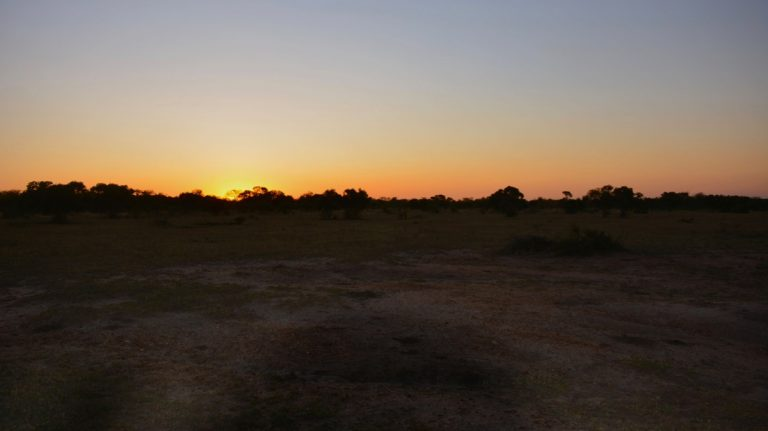 Solnedgang i Manyeleti.